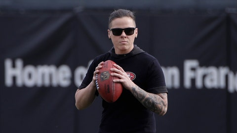 <p>               San Francisco 49ers offensive assistant Katie Sowers watches as players practice at the team's NFL football training facility in Santa Clara, Calif., Thursday, Jan. 23, 2020. The 49ers will face the Kansas City Chiefs in Super Bowl 54. (AP Photo/Jeff Chiu)             </p>
