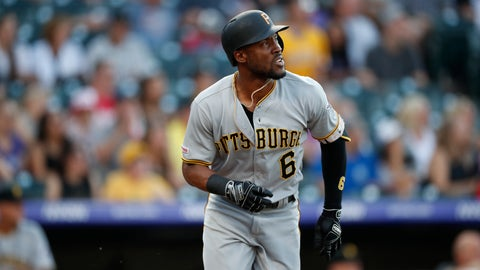 <p>               In this Aug. 31, 2019 photo Pittsburgh Pirates center fielder Starling Marte (6) in the first inning of a baseball game in Denver. Marte is heading to the Arizona Diamondbacks. The Pirates sent the two-time Gold Glove outfielder and 2016 All-Star to the Diamondbacks for prospects Liover Peguero and Brennan Malone, Monday, Jan. 27, 2020. (AP Photo/David Zalubowski)             </p>