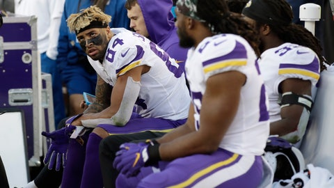 <p>               Minnesota Vikings tight end Irv Smith (84) sits on the bench with teammates during the second half of an NFL divisional playoff football game against the San Francisco 49ers, Saturday, Jan. 11, 2020, in Santa Clara, Calif. The 49ers won 27-10. (AP Photo/Marcio Jose Sanchez)             </p>