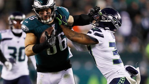 <p>               Philadelphia Eagles' Zach Ertz, left, tries to hold off Seattle Seahawks' Quandre Diggs during the second half of an NFL wild-card playoff football game, Sunday, Jan. 5, 2020, in Philadelphia. (AP Photo/Julio Cortez)             </p>