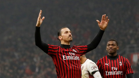 <p>               AC Milan's Zlatan Ibrahimovic celebrates after scoring his side's fourth goal during an Italian Cup quarter finals soccer match between AC Milan and Torino at the San Siro stadium, in Milan, Italy, Tuesday, Jan. 28, 2020. (AP Photo/Antonio Calanni)             </p>