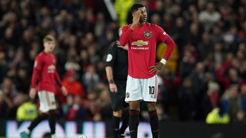 <p>               Manchester United's Marcus Rashford waits to restart after Manchester City scored their third goal of the game during the English League Cup semifinal first leg soccer match between Manchester United and Manchester City and at Old Trafford, Manchester, England, Tuesday, Jan. 7, 2020. (AP Photo/Jon Super)             </p>