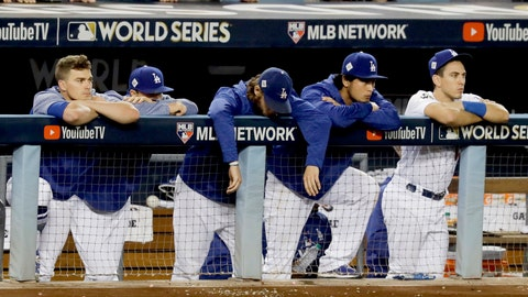 <p>               FILE - In this Nov. 1, 2017 file photo, members of the Los Angeles Dodgers watch as the Houston Astros celebrate their win in Game 7 of baseball's World Series in Los Angeles. The Los Angeles City Council wants Major League Baseball to strip the Houston Astros and Boston Red Sox of their World Series titles and award the trophies to the Dodgers. The resolution was introduced Tuesday, Jan. 21, 2020, after it was revealed that the Astros used a system by then-coach Alex Cora in 2017 to tip off batters on what pitch was to be thrown.  (AP Photo/Alex Gallardo)             </p>