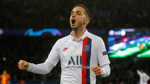 <p>               PSG's Pablo Sarabia celebrates after scoring his side's second goal during the Champions League, group A soccer match between PSG and Galatasaray, at the Parc des Princes stadium in Paris, Wednesday, Dec. 11, 2019. (AP Photo/Michel Euler)             </p>
