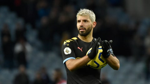 <p>               Manchester City's Sergio Aguero applauds to supporters at the end of the English Premier League soccer match between Aston Villa and Manchester City at Villa Park in Birmingham, England, Sunday, Jan. 12, 2020. Manchester City won the game 1-6. (AP Photo/Rui Vieira)             </p>