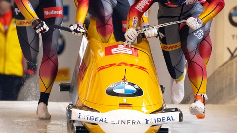 <p>               Francesco Friedrich, Candy Bauer, Martin Grothkopp and Alexander Schueller from Germany in action in the first run of the four-men bob world cup in Schoenau, Germany, Sunday, Jan.26, 2020. ( Sven Hoppe/dpa via AP)             </p>