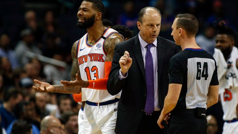 <p>               New York Knicks head coach Mike Miller, center, argues with NBA official Justin Van Duyne as New York Knicks forward Marcus Morris Sr. reacts to a call in the closing minutes of the second half of an NBA basketball game against the Charlotte Hornets in Charlotte, N.C., Tuesday, Jan. 28, 2020. Charlotte won 97-92. (AP Photo/Nell Redmond)             </p>