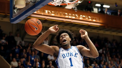<p>               Duke center Vernon Carey Jr. dunks against Boston College during the first half of an NCAA basketball game in Durham, N.C., Tuesday, Dec. 31, 2019. (AP Photo/Gerry Broome)             </p>