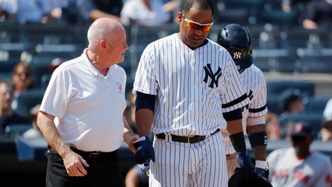 <p>               FILE - In this Aug. 3, 2019, file photo, New York Yankees' Edwin Encarnacion is helped by trainer Steve Donohue after being hit by a pitch thrown by Boston Red Sox's Josh Smith during the eighth inning of a baseball game in New York. Encarnacion suffered a broken right wrist. Donahue has been promoted to the newly created role of director of medical services for the Yankees. The 63-year-old, starting his 42nd year with the team, had been head athletic trainer for eight seasons after working from 1986-2011 as assistant athletic trainer to Gene Monahan. (AP Photo/Michael Owens, File)             </p>