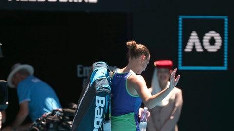<p>               Karolina Pliskova of the Czech Republic waves as she leaves Rod Laver Arena after her third round loss to to Russia's Anastasia Pavlyuchenkova at the Australian Open tennis championship in Melbourne, Australia, Saturday, Jan. 25, 2020. (AP Photo/Dita Alangkara)             </p>