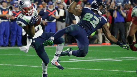 <p>               FILE - In this Feb. 1, 2015, file photo, New England Patriots cornerback Malcolm Butler (21) intercepts a pass intended for Seattle Seahawks wide receiver Ricardo Lockette (83) during the second half of the Super Bowl NFL football game in Glendale, Ariz. After Seattle eschewed giving the ball to hard-running Marshawn Lynch at the goal line, Butler made the game-saving interception for New England. (AP Photo/Kathy Willens, File)             </p>