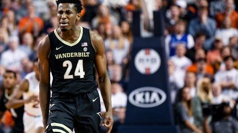 <p>               Vanderbilt forward Aaron Nesmith (24) celebrates after a basket against Auburn during the second half of an NCAA college basketball game Wednesday, Jan. 8, 2020, in Auburn, Ala. (AP Photo/Julie Bennett)             </p>