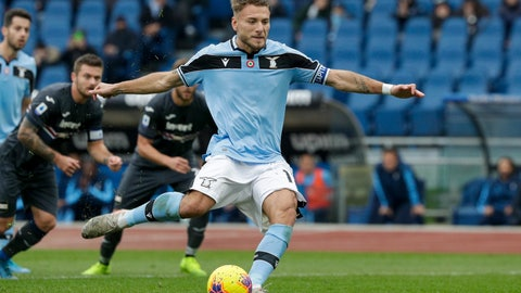 <p>               Lazio's Ciro Immobile scores his side's second goal on a penalty shot during a Serie A soccer match between Lazio and Sampdoria, at Rome's Olympic Stadium, Saturday, Jan. 18, 2020. (AP Photo/Andrew Medichini)             </p>