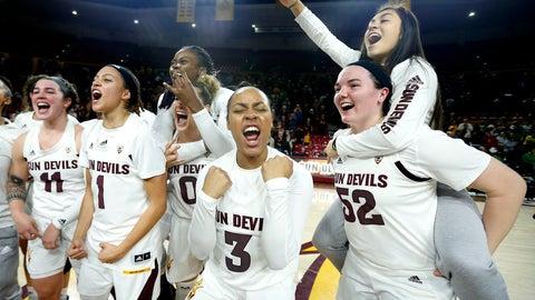 <p>               Arizona State guard Sara Bejedi (3) celebrates with teammates after Arizona State defeated No. 2 Oregon 72-66 during an NCAA college basketball game Friday, Jan. 10, 2020, in Tempe, Ariz. (AP Photo/Ralph Freso)             </p>