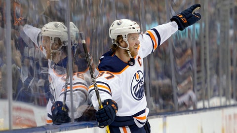 <p>               Edmonton Oilers center Connor McDavid celebrates his goal against the Toronto Maple Leafs during third-period NHL hockey game action in Toronto, Monday, Jan. 6, 2020. (Nathan Denette/The Canadian Press via AP)             </p>