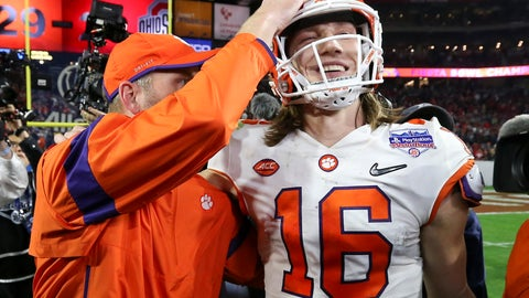 <p>               Clemson quarterback Trevor Lawrence (16) is congratulated after Clemson defeated Ohio State 29-23 in the Fiesta Bowl NCAA college football playoff semifinal Saturday, Dec. 28, 2019, in Glendale, Ariz. (AP Photo/Ross D. Franklin)             </p>