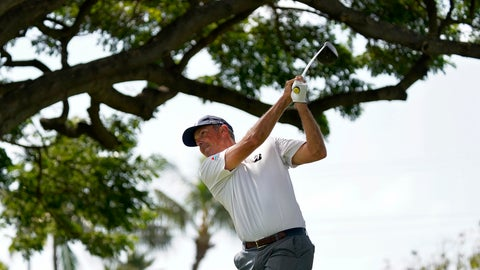 <p>               Defending champion Matt Kuchar hits from the second tee during the Sony Open PGA Tour pro-am golf event, Wednesday, Jan. 8, 2020, at Waialae Country Club in Honolulu. (AP Photo/Matt York)             </p>