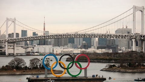 <p>               A barge carrying the Olympic Rings floats in the water near the Rainbow Bridge Friday, Jan. 17, 2020, in the Odaiba district of Tokyo. (AP Photo/Jae C. Hong)             </p>