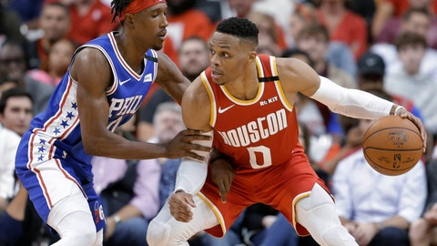 <p>               Houston Rockets guard Russell Westbrook (0) dribbles as Philadelphia 76ers guard Josh Richardson defends during the second half of an NBA basketball game Friday, Jan. 3, 2020, in Houston. (AP Photo/Eric Christian Smith)             </p>