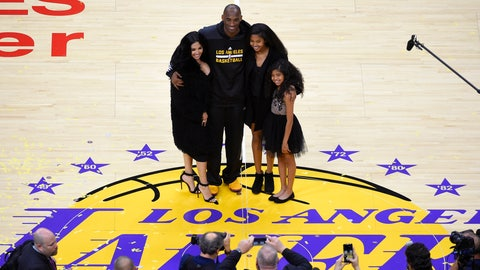 <p>               FILE - In this April 13, 2016, file photo, Los Angeles Lakers' Kobe Bryant poses for pictures with his wife Vanessa, left, and daughters Natalia, second from right, and Gianna as they stand on the court after an NBA basketball game against the Utah Jazz, in Los Angeles. Bryant, the 18-time NBA All-Star who won five championships and became one of the greatest basketball players of his generation during a 20-year career with the Los Angeles Lakers, died in a helicopter crash Sunday, Jan. 26, 2020.(AP Photo/Mark J. Terrill)             </p>