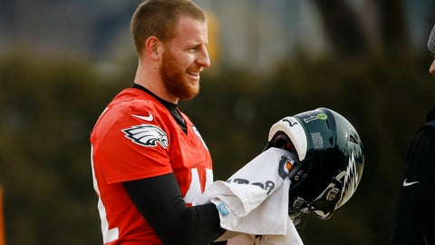 <p>               Philadelphia Eagles quarterback Carson Wentz wipes down his helmet at the NFL football team's practice facility in Philadelphia, Thursday, Jan. 2, 2020. The Seattle Seahawks travel to Philadelphia to play the Eagles in an NFC wild-card matchup on Sunday. (AP Photo/Matt Rourke)             </p>