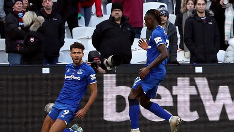 <p>               Everton's Dominic Calvert-Lewin celebrates scoring his side's first goal of the game, during the English Premier League soccer match between West Ham United and Everton at the London Stadium, in London, Saturday, Jan. 18, 2020. (Yui Mok/PA via AP)             </p>