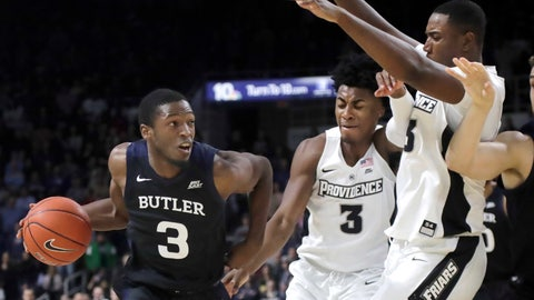 <p>               Butler guard Kamar Baldwin (3) drives against Providence guard David Duke (3) and forward Kalif Young, right, during the first half of an NCAA college basketball game Friday, Jan. 10, 2020, in Providence, R.I. (AP Photo/Elise Amendola)             </p>