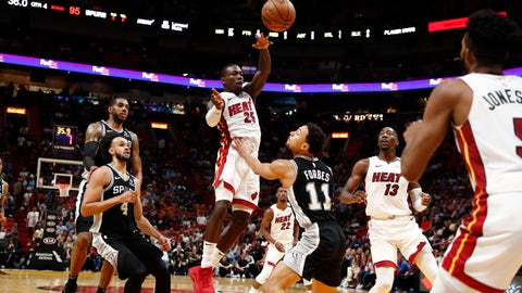 <p>               Miami Heat guard Kendrick Nunn (25) jumps up to pass the ball against San Antonio Spurs guard Bryn Forbes (11) in the second half of an NBA basketball game, Wednesday, Jan. 15, 2020, in Miami. (AP Photo/Brynn Anderson)             </p>