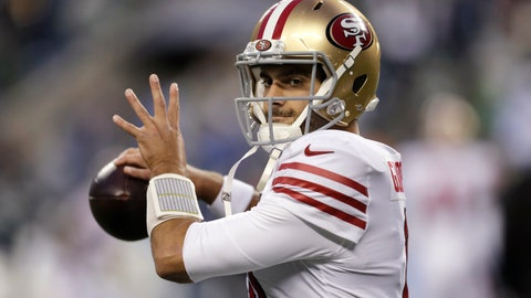 <p>               San Francisco 49ers quarterback Jimmy Garoppolo warms up before an NFL football game against the Seattle Seahawks, Sunday, Dec. 29, 2019, in Seattle. (AP Photo/Stephen Brashear)             </p>