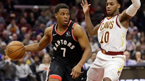 <p>               Toronto Raptors' Kyle Lowry (7) drives past Cleveland Cavaliers' Darius Garland (10) during the second half of an NBA basketball game Thursday, Jan. 30, 2020, in Cleveland. Toronto won 115-109. (AP Photo/Tony Dejak)             </p>