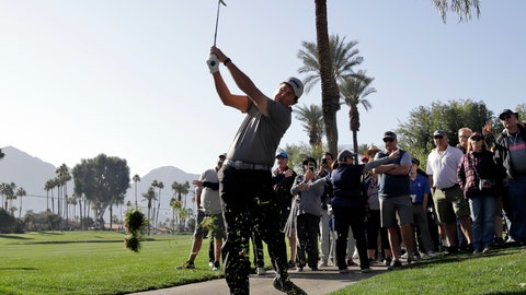 <p>               Phil Mickelson hits from the rough on the fourth hole during the first round of The American Express golf tournament at La Quinta Country Club Thursday, Jan. 16, 2020, in La Quinta, Calif. (AP Photo/Marcio Jose Sanchez)             </p>