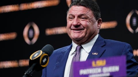 <p>               LSU head coach Ed Orgeron speaks during a news conference after their teams win in the NCAA College Football Playoff national championship game Tuesday, Jan. 14, 2020, in New Orleans. LSU won 42-25 over Clemson on Monday. (AP Photo/David J. Phillip)             </p>