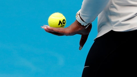 <p>               United States' Serena Williams prepares to serve during a practice session ahead of the Australian Open tennis championship in Melbourne, Australia, Friday, Jan. 17, 2020. (AP Photo/Lee Jin-man)             </p>