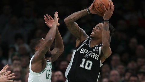 <p>               San Antonio Spurs guard DeMar DeRozan (10) shoots over Boston Celtics guard Brad Wanamaker, left, during the third quarter of an NBA basketball game Wednesday, Jan. 8, 2020 in Boston. (AP Photo/Charles Krupa)             </p>