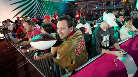 <p>               San Francisco 49ers fans wait for Opening Night for the NFL Super Bowl 54 football game Monday, Jan. 27, 2020, at Marlins Park in Miami. (AP Photo/David J. Phillip)             </p>