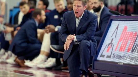 <p>               Gonzaga head coach Mark Few yells out during the first half of an NCAA college basketball game against Loyola Marymount in Los Angeles, Saturday, Jan. 11, 2020. (AP Photo/Alex Gallardo)             </p>