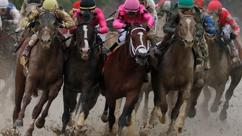 <p>               FILE - In this May 4, 2019, file photo, Flavien Prat on Country House, left, racing against Luis Saez on Maximum Security, third from left, during the 145th running of the Kentucky Derby horse race at Churchill Downs in Louisville, Ky. Derby? Boy, that's one big muddle. The horse in front jumps a puddle. The stewards rule he interfered And take him down. How's that for weird? (AP Photo/John Minchillo, File)             </p>