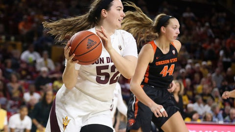 <p>               Arizona State's Jamie Ruden (52) looks to pass after winning a rebound against Oregon State's Taylor Jones (44) during the first half of an NCAA college basketball game Sunday, Jan. 12, 2020, in Tempe, Ariz. (AP Photo/Darryl Webb)             </p>