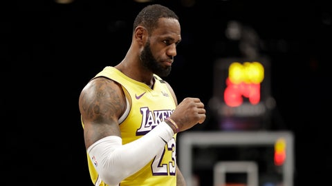<p>               Los Angeles Lakers' LeBron James walks on the court during the second half of an NBA basketball game against the Brooklyn Nets Thursday, Jan. 23, 2020, in New York. The Lakers won 128-113. (AP Photo/Frank Franklin II)             </p>