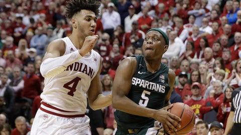 <p>               Michigan State's Cassius Winston (5) goes to the basket against Indiana's Trayce Jackson-Davis (4) during the second half of an NCAA college basketball game, Thursday, Jan. 23, 2020, in Bloomington, Ind.  (AP Photo/Darron Cummings)             </p>