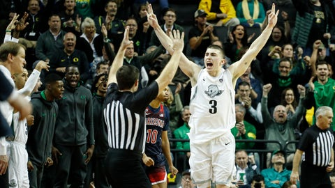 <p>               Oregon's Payton Pritchard (3) celebrates a three-point basket that put the team ahead of Arizona during the second half of an NCAA college basketball game Thursday, Jan. 9, 2020, in Eugene, Ore. (AP Photo/Thomas Boyd)             </p>