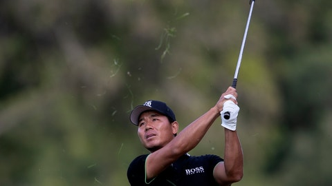 <p>               China's Ashun Wu plays a shot on the 18th hole during the third round of the Dubai Desert Classic golf tournament in Dubai, United Arab Emirates, Saturday, Jan. 25, 2020. (AP Photo/Kamran Jebreili)             </p>
