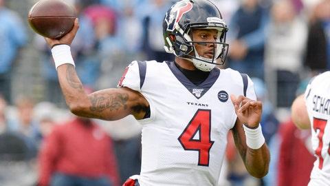 <p>               Houston Texans quarterback Deshaun Watson passes against the Tennessee Titans in the first half of an NFL football game Sunday, Dec. 15, 2019, in Nashville, Tenn. (AP Photo/Mark Zaleski)             </p>