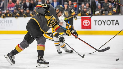 <p>               Vegas Golden Knights' Max Pacioretty (67) shoots against the Pittsburgh Penguins during the second period of an NHL hockey game Tuesday, Jan. 7, 2020, in Las Vegas. (AP Photo/L.E. Baskow)             </p>