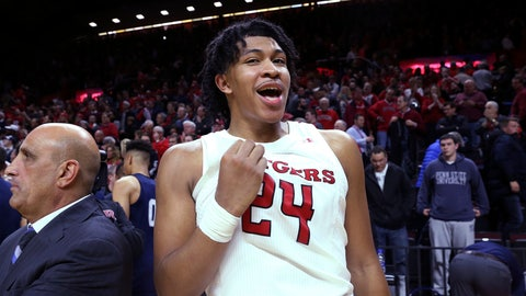 <p>               Rutgers guard Ron Harper Jr. reacts after the team's 72-61 win over Penn State in an NCAA college basketball game Tuesday, Jan. 7, 2020, in Piscataway, N.J. (AP Photo/Michael Owens)             </p>