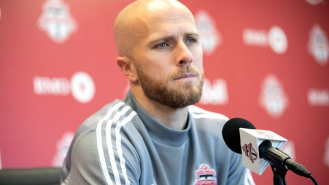 <p>               FILE - In this Nov. 13, 2019, file photo, Toronto FC MLS soccer player Michael Bradley speaks to the media during an end of season availability in Toronto, Wednesday,. Toronto FC training camp opened with a bang Monday with the news that captain Michael Bradley is scheduled to undergo ankle surgery and could be out for four months or more. (Chris Young/The Canadian Press via AP, File)             </p>