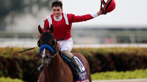 <p>               Jockey Irad Ortiz, Jr., atop Mucho Gusto, waves after winning the Pegasus World Cup Invitational horse race, Saturday, Jan. 25, 2020, at Gulfstream Park in Hallandale Beach, Fla. (AP Photo/Lynne Sladky)             </p>