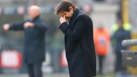 <p>               Inter Milan's head coach Antonio Conte stands during the Serie A soccer match between Inter Milan and Cagliari at the San Siro Stadium, in Milan, Italy, Sunday, Jan. 26, 2020. (AP Photo/Antonio Calanni)             </p>