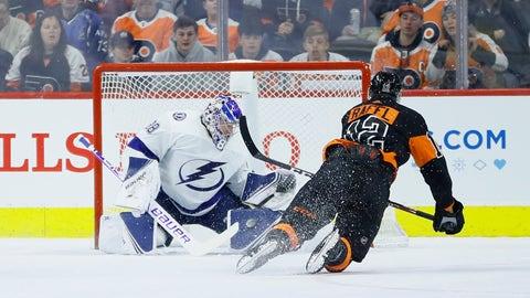 <p>               Tampa Bay Lightning's Andrei Vasilevskiy, left, blocks a shot by Philadelphia Flyers' Michael Raffl during the first period of an NHL hockey game, Saturday, Jan. 11, 2020, in Philadelphia. (AP Photo/Matt Slocum)             </p>