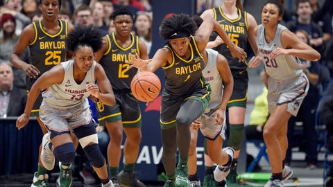 <p>               Baylor's NaLyssa Smith, center, grabs takes off with a rebound during the first half of the team's NCAA college basketball game against Connecticut, Thursday, Jan. 9, 2020, in Hartford, Conn. (AP Photo/Jessica Hill)             </p>